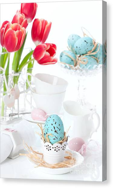 Easter Eggs Canvas Print - Easter Egg Setting by Amanda Elwell