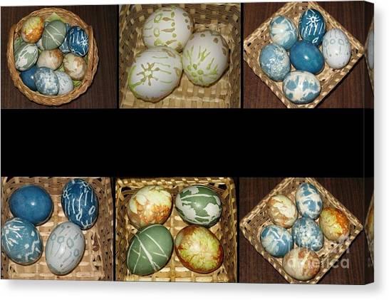 Easter Baskets Canvas Print - Easter Eggs. Easter Collage Series by Ausra Huntington nee Paulauskaite