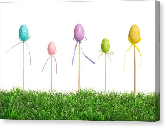 Easter Eggs Canvas Print - Easter Eggs In Grass by Amanda Elwell