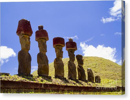 Easter Island Canvas Print - Easter Island Statues  by David Smith