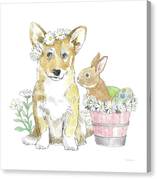 Easter Baskets Canvas Print - Easter Pups I by Beth Grove