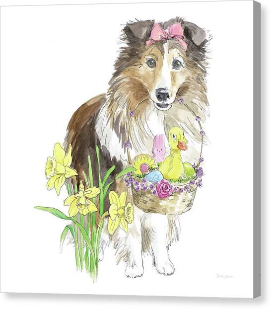 Easter Baskets Canvas Print - Easter Pups II by Beth Grove