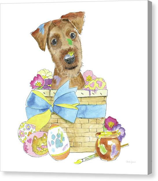 Easter Baskets Canvas Print - Easter Pups IIi by Beth Grove