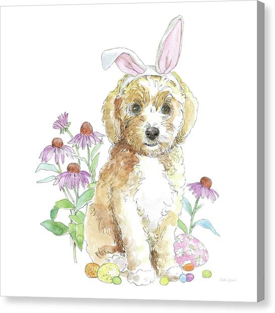 Easter Baskets Canvas Print - Easter Pups Iv by Beth Grove