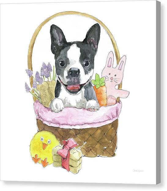 Easter Baskets Canvas Print - Easter Pups Vii by Beth Grove