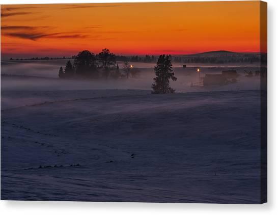 Farmstead Canvas Print - Eastern Washington Winter Sunset by Mark Kiver