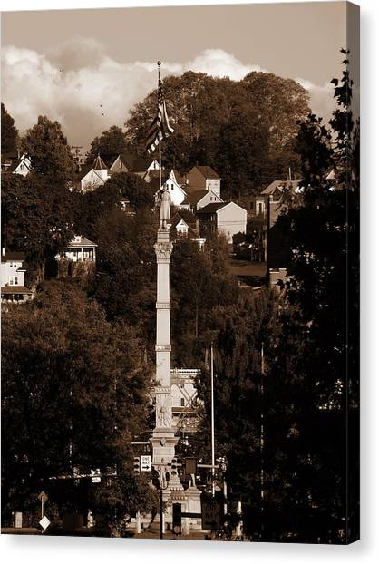 Easton Pa - Long View Of Civil War Monument In Sepia Canvas Print by Jacqueline M Lewis