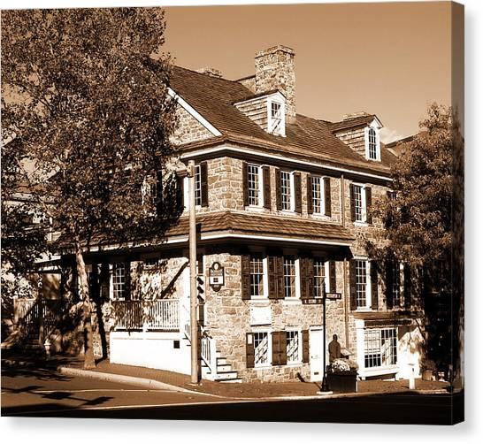 Easton Pa - Bachmann Publik House In Sepia Canvas Print by Jacqueline M Lewis