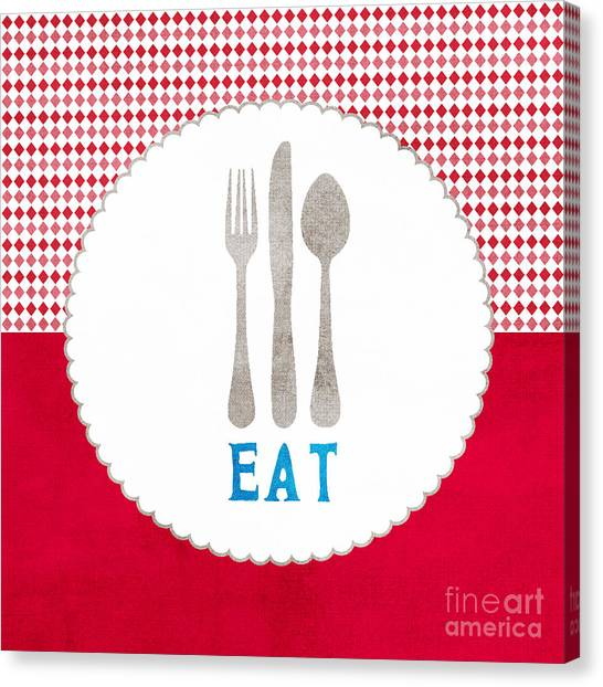 Cooking Canvas Print - Eat by Linda Woods