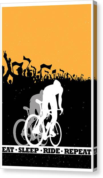 Canvas Print featuring the painting Eat Sleep Ride Repeat by Sassan Filsoof