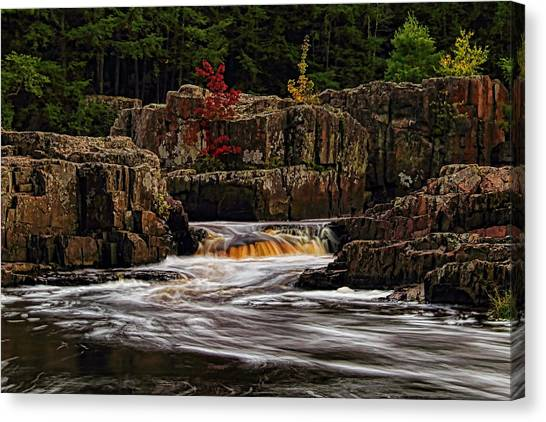 Waterfall Under Colored Leaves Canvas Print