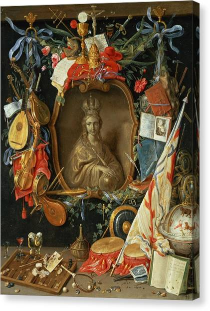 Mandolins Canvas Print - Ecclesia Surrounded By Symbols Of Vanity On Copper by Jan van, the Elder Kessel