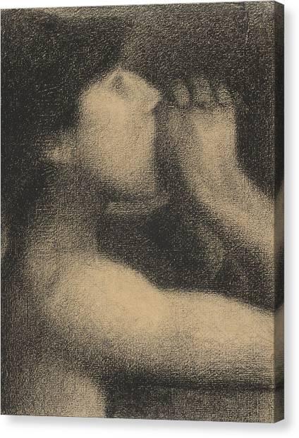 Bare Shoulder Canvas Print - Echo by Georges Pierre Seurat
