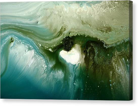 Echo Green Abstract Art By Kredart Canvas Print