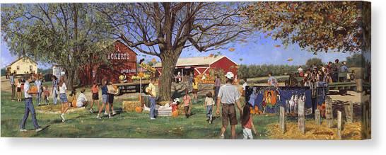 Pumpkin Patch Canvas Print - Eckert's Market Under Big Tree 1995 by Don  Langeneckert