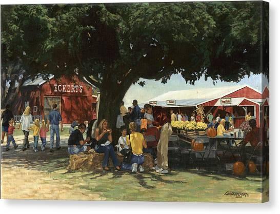 Pumpkin Patch Canvas Print - Eckert's Market Under Big Tree by Don  Langeneckert