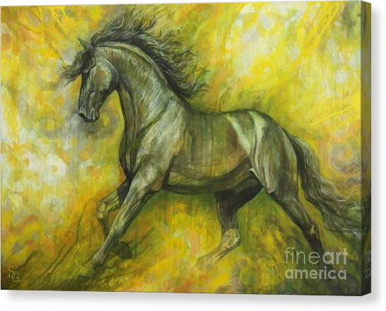Dark Horse Canvas Print - Eclipse by Silvana Gabudean Dobre