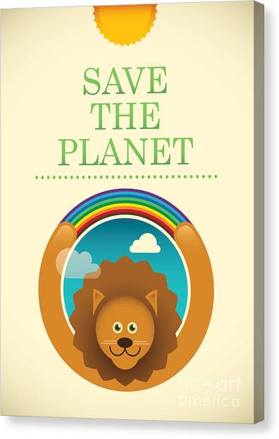 Planet Canvas Print - Ecology Poster With Comic Lion. Vector by Radoman Durkovic