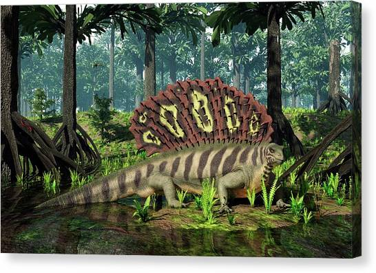 Centipedes Canvas Print - Edaphosaurus Amidst Cordaites by Walter Myers