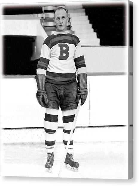 Boston Bruins Canvas Print - Eddie Shore Hockey Legend by Gianfranco Weiss