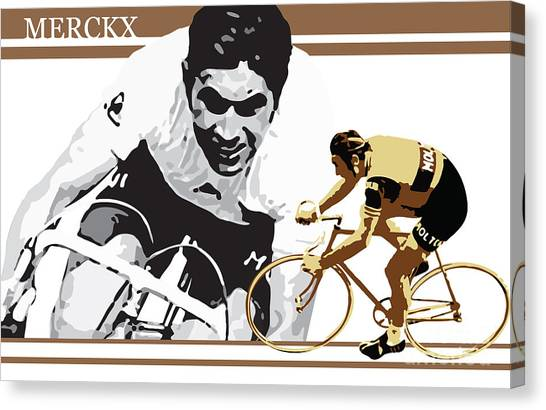 Canvas Print featuring the digital art Eddy Merckx by Sassan Filsoof