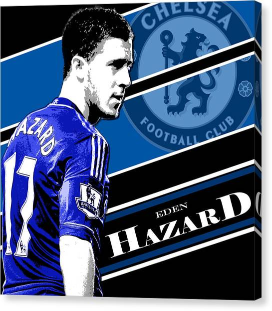 Soccer Leagues Canvas Print - Eden Hazard Chelsea Print by Pro Prints