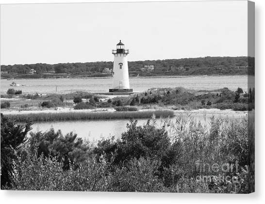 Marthas Vineyard Canvas Print - Edgartown Lighthouse - Black And White by Carol Groenen