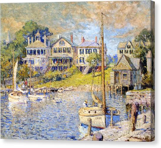 Marthas Vineyard Canvas Print - Edgartown  Martha's Vineyard by Colin Campbell Cooper