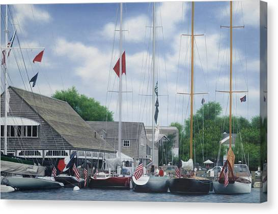 Marthas Vineyard Canvas Print - Edgartown Yacht Club Marthas Vineyard by Julia O'Malley-Keyes