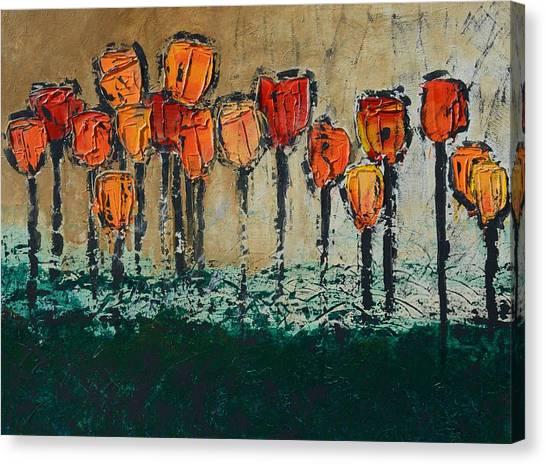 Edgey Tulips Canvas Print