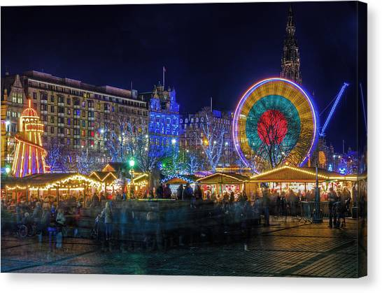 Edinburgh Christmas Market Canvas Print