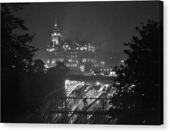 Edinburgh Night Rain Canvas Print