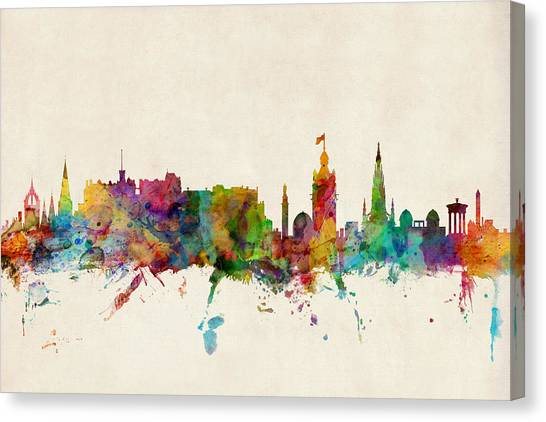 United Kingdom Canvas Print - Edinburgh Scotland Skyline by Michael Tompsett