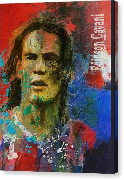 Manchester United Canvas Print - Edinson Cavani by Corporate Art Task Force