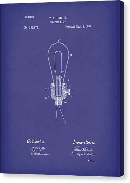 1880s Canvas Print - Edison Electric Lamp 1882 Patent Art Blue by Prior Art Design