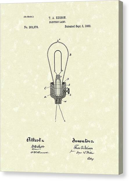 Canvas Print featuring the drawing Edison Electric Lamp 1882 Patent Art by Prior Art Design