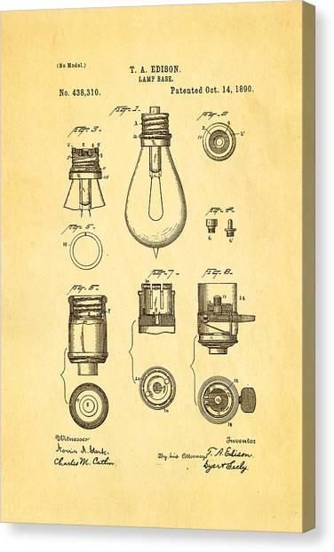 Household Canvas Print - Edison Lamp Base Patent Art 1890 by Ian Monk