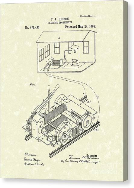 Train Canvas Print - Edison Locomotive 1892 Patent Art by Prior Art Design