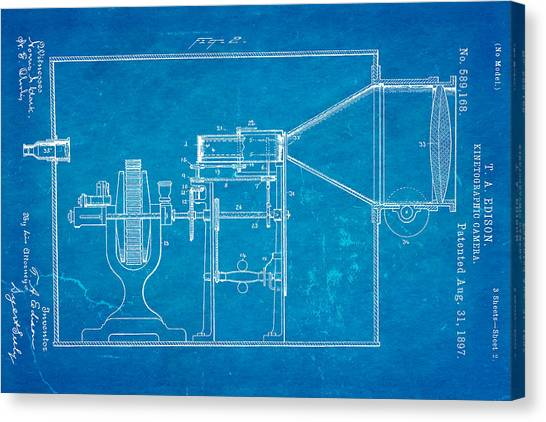 Electrical engineering canvas prints fine art america electrical engineering canvas print edison motion picture camera patent art 2 1897 blueprint by ian malvernweather Images
