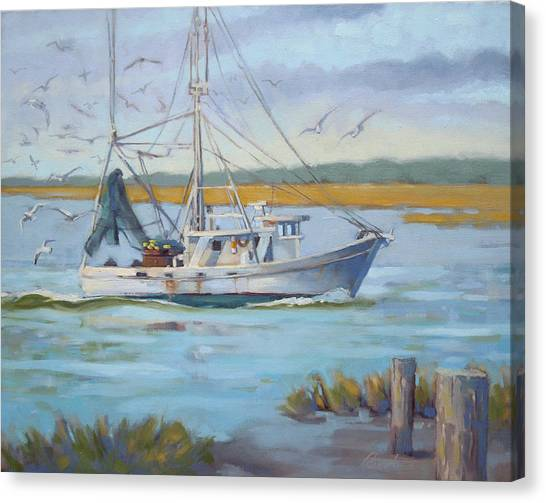 Shrimping Canvas Print - Edisto Shrimp Boat by Todd Baxter