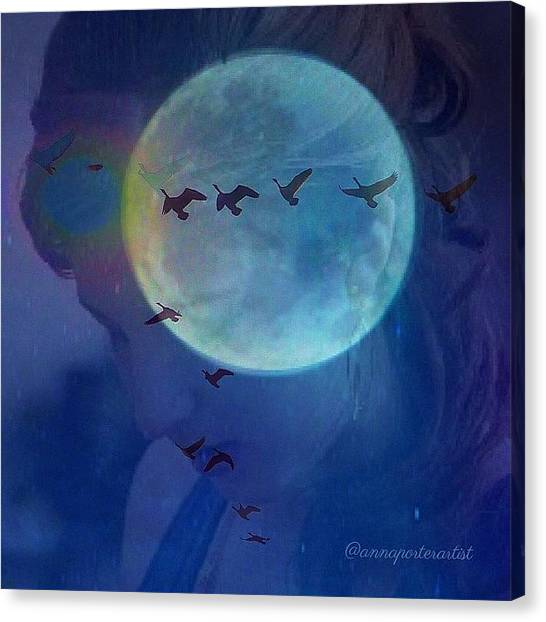 Flying Canvas Print - Edit To The Poem Oh Moon by Anna Porter