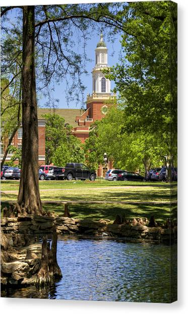 Oklahoma State University Canvas Print - Edmon Low Library by Ricky Barnard