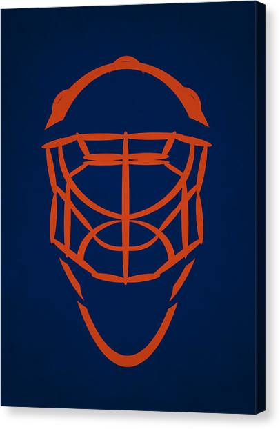 Edmonton Oilers Canvas Print - Edmonton Oilers Goalie Mask by Joe Hamilton