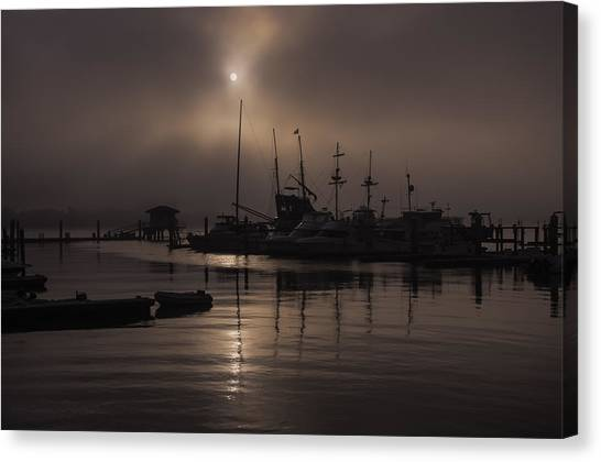Eerie Morning Fog St. Augustine Marina Canvas Print