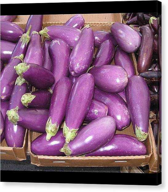 Farmers Canvas Print - #eggplant #veggies #instagrammers by Monica Hart