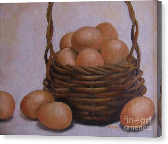 Eggs In A Basket Canvas Print by Karen Olson