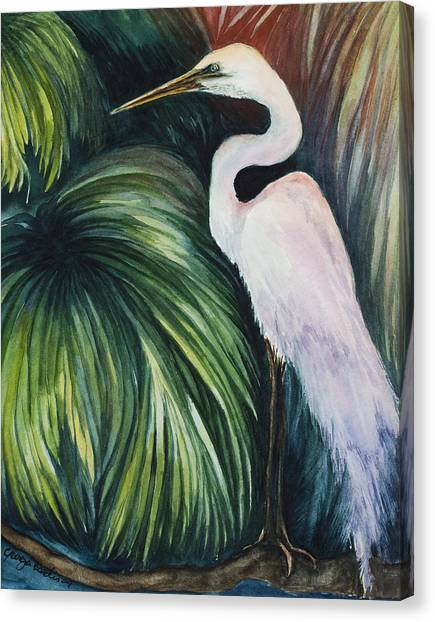 Egret In Palms Canvas Print by Georgia Pistolis