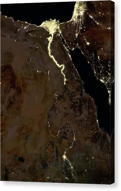 River Jordan Canvas Print - Egypt At Night by Planetobserver