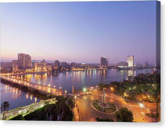 Egypt, Cairo, View Of Bridge With River Canvas Print by Westend61