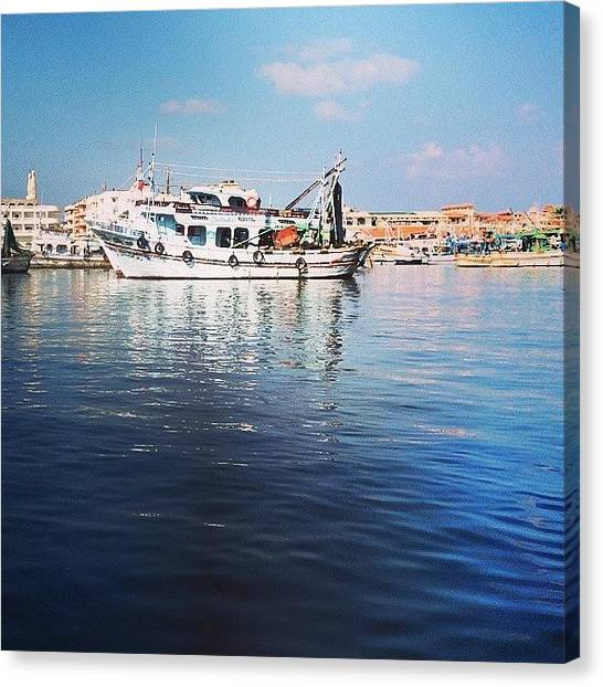 Fishing Boats Canvas Print - #egypt #damietta #fishing #boat #water by Mohamed Elkhamisy